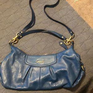 Coach purse - cobalt blue with gold details